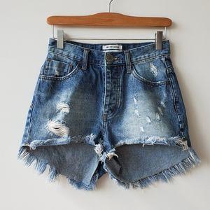 One Teaspoon High-Waist Bonita Denim Shorts in 25